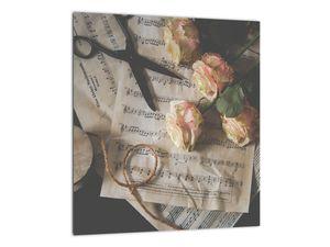 A zenei jegyzetek és a rózsák képe (V020393V3030)