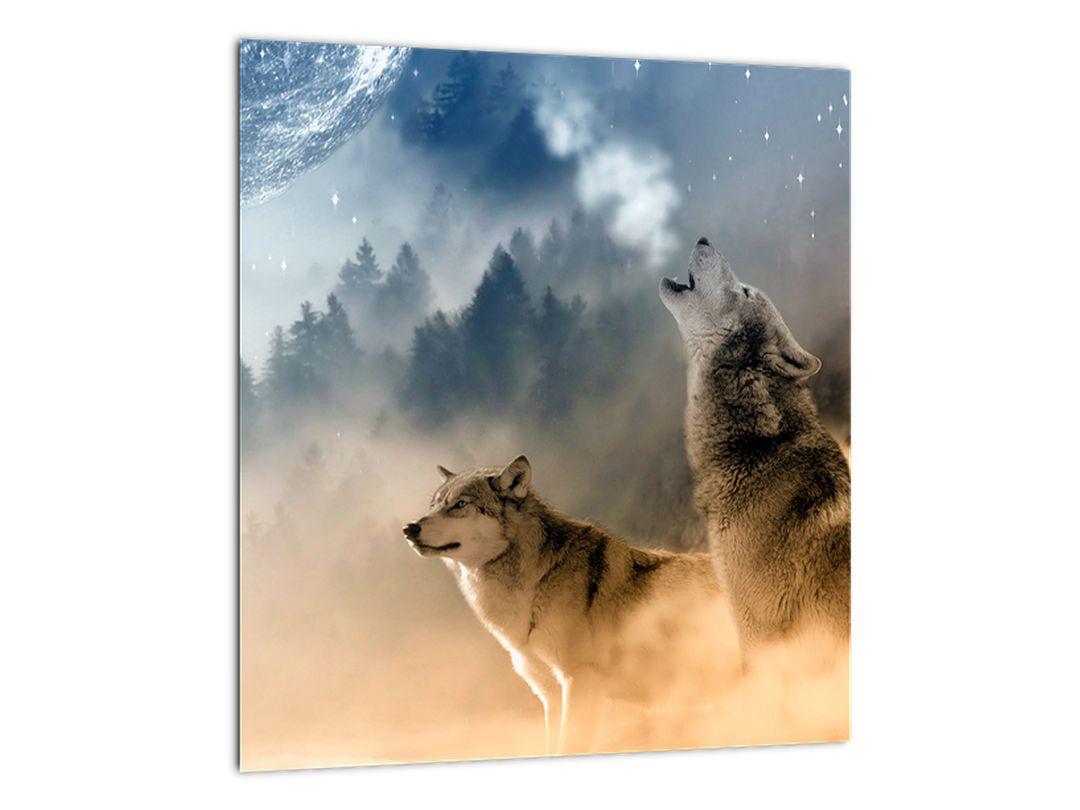 Slika - vukovi zavijaju na mjesec (V020509V3030)