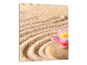Obraz kameňa s kvetinou na piesku (V020864V3030)