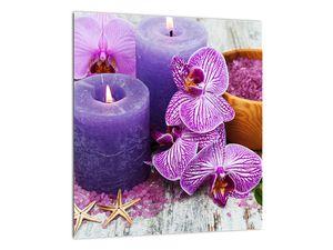 Obraz orchideí a svíček (V020894V3030)