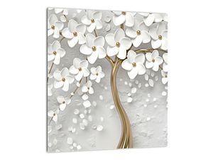 Obraz bílého stromu s květinami (V020977V3030)