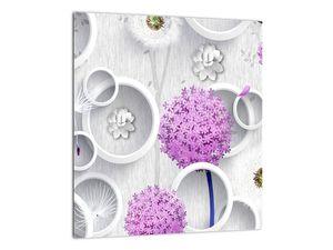 Tablou cu abstracție 3D cu cercuri și flori (V020981V3030)