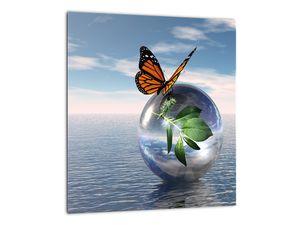 Obraz motýla na skleněné kouli (V021198V3030)