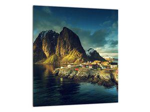 Obraz rybářské vesnice v Norsku (V021280V3030)