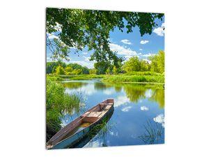Slika ljetne rijeke s brodicom (V021977V3030)