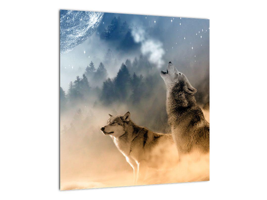 Slika - vukovi zavijaju na mjesec (V020509V4040)