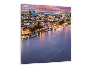 Obraz nočného mesta Bratislavy s riekou (V020706V4040)