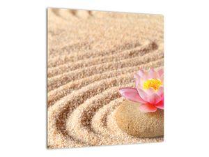 Obraz kameňa s kvetinou na piesku (V020864V4040)