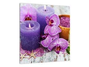 Obraz orchideí a svíček (V020894V4040)