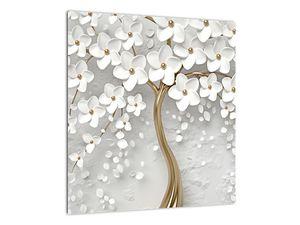 Obraz bílého stromu s květinami (V020977V4040)