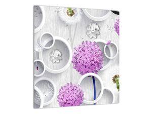 Tablou cu abstracție 3D cu cercuri și flori (V020981V4040)