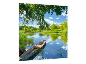 Slika ljetne rijeke s brodicom (V021977V4040)