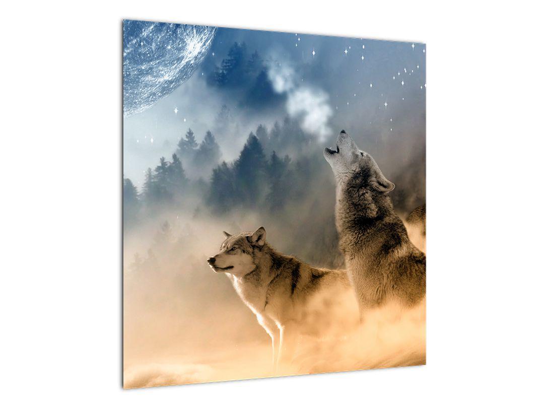 Slika - vukovi zavijaju na mjesec (V020509V5050)