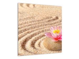 Obraz kameňa s kvetinou na piesku (V020864V5050)
