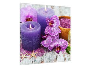 Obraz orchideí a svíček (V020894V5050)
