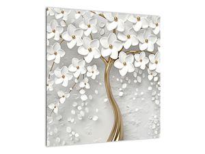 Obraz bílého stromu s květinami (V020977V5050)