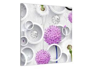 Tablou cu abstracție 3D cu cercuri și flori (V020981V5050)