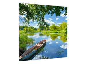 Slika ljetne rijeke s brodicom (V021977V5050)