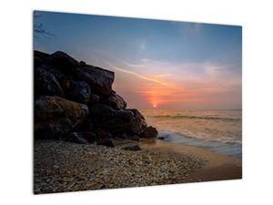 Tablou apusului de soare pe plajă (V020214V7050)