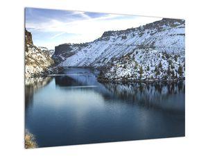 Tablou - peisaj de iarnă cu lac (V020216V7050)