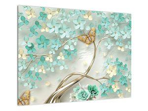 Obraz květiny s motýly (V020716V7050)