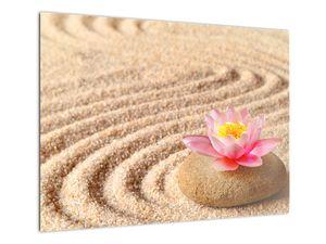 Obraz kameňa s kvetinou na piesku (V020864V7050)
