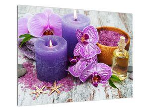 Obraz orchideí a svíček (V020894V7050)