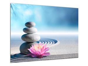 Tablou cu nisip, crin și pietrele spa (V020945V7050)