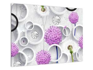 Tablou cu abstracție 3D cu cercuri și flori (V020981V7050)