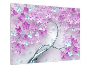 Obraz květů na stříbrném kmeni - abstrakt (V021303V7050)