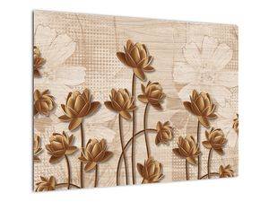 Obraz abtrakce květin - hnědá (V021309V7050)