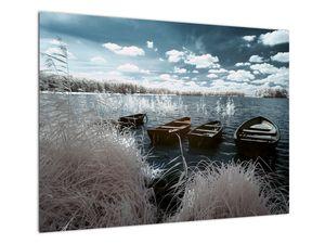 Obraz - Dřevěné loďky na jezeru (V021925V7050)