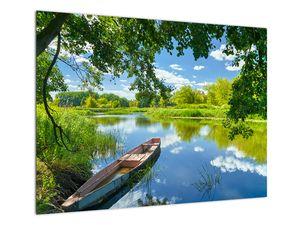 Slika ljetne rijeke s brodicom (V021977V7050)