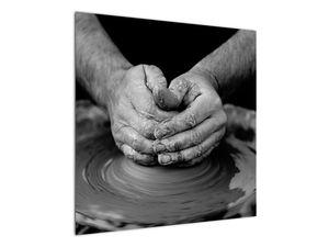 Černobílý obraz - výroba keramiky (V020349V7070)