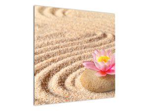 Obraz kameňa s kvetinou na piesku (V020864V7070)