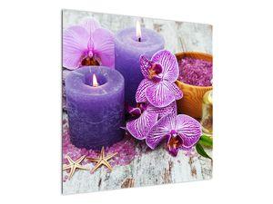 Obraz orchideí a svíček (V020894V7070)