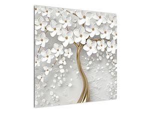 Obraz bílého stromu s květinami (V020977V7070)
