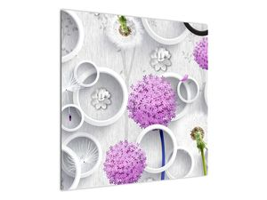 Tablou cu abstracție 3D cu cercuri și flori (V020981V7070)