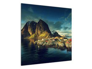 Obraz rybářské vesnice v Norsku (V021280V7070)