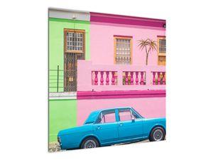 Obraz auta - barevné domy (V021582V7070)