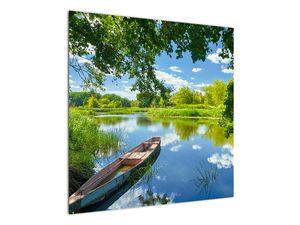 Slika ljetne rijeke s brodicom (V021977V7070)