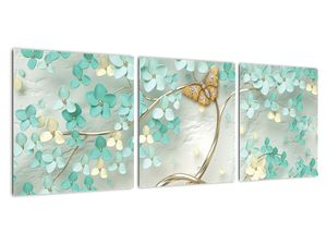 Obraz květiny s motýly (V020716V9030)