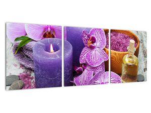 Obraz orchideí a svíček (V020894V9030)