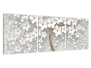 Obraz bílého stromu s květinami (V020977V9030)