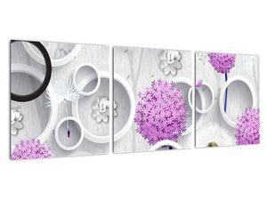 Tablou cu abstracție 3D cu cercuri și flori (V020981V9030)
