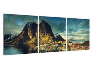 Obraz rybářské vesnice v Norsku (V021280V9030)