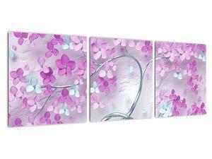 Obraz květů na stříbrném kmeni - abstrakt (V021303V9030)