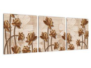 Obraz abtrakce květin - hnědá (V021309V9030)