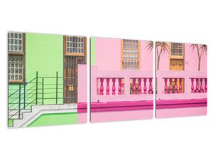 Obraz auta - barevné domy (V021582V9030)
