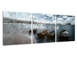 Obraz - Dřevěné loďky na jezeru (V021925V9030)